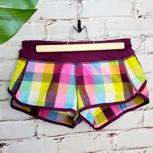 """Lululemon Sea Check Plaid Speed Shorts 2.5"""" Size 4"""